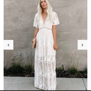 "VICI ""The Day We Met"" White Floral Lace Maxi Dress"
